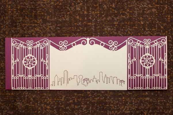 enchanted garden invitation, modern and magical theme plum purple wedding invite