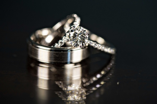 wedding bands rings black surface thick man's band woman's band bride groom wedding classic jewelry