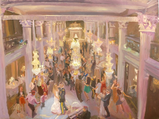 Painting of historic wedding reception venue