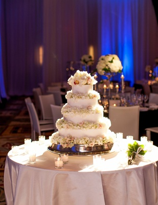 Adrianna Costa wedding cake with fresh flower petals