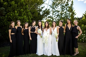 bride bridesmaids closest girl friends rhode island pre wedding women different gowns