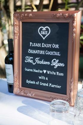 wedding sign rose gold frame black chalkboard signature cockail bar wedding menu