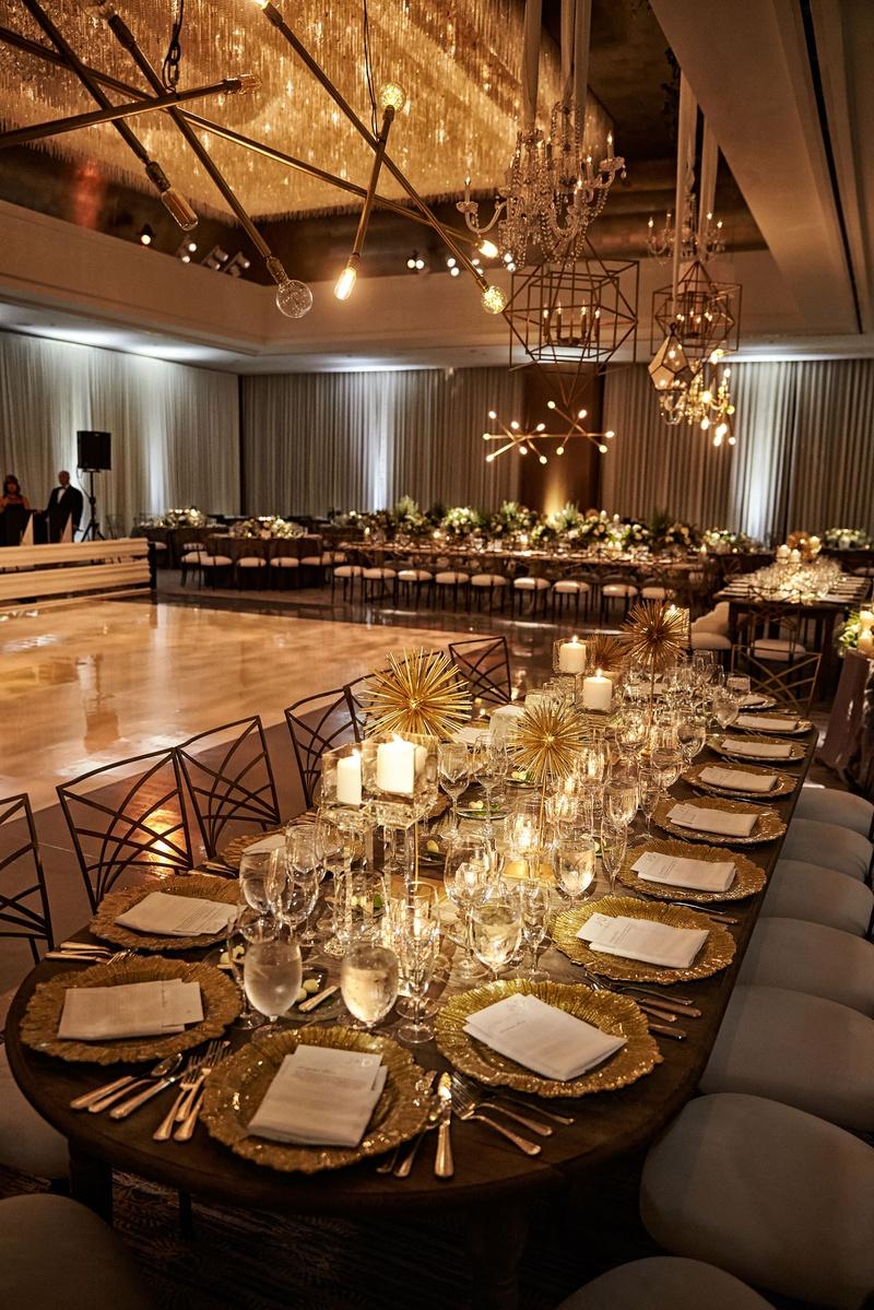 Wedding reception dance floor modern light fixtures sputnik chandelier gold urchin geometric decor