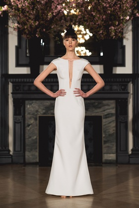 Ines Di Santo Spring 2019 collection v-neck gown with cap sleeves and illusion back