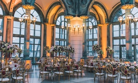 Henry Morrison Flagler Museum wedding reception, gold, burgundy, greenery, ivory color palette