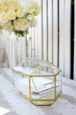 wedding ceremony reception geometric metallic gold terrarium box with cards wedding gifts