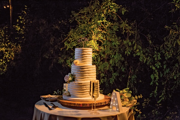 wedding cake three layer round design champagne marquee letter outdoor wedding reception