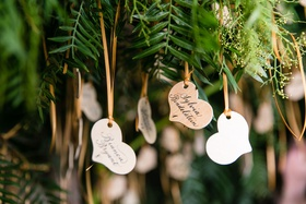 wedding reception escort card display live tree with wood heart shape escort cards table numbers