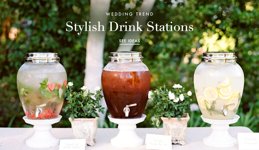 Pretty beverage and drink stations for outdoor weddings