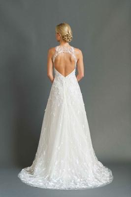 Sabrina Dahan 2016 back of embroidered tulle wedding dress with keyhole back