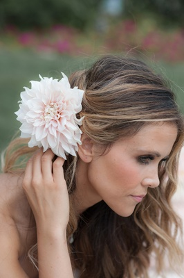 Katrina Hodgson Tone It Up with pink flower in wedding hair