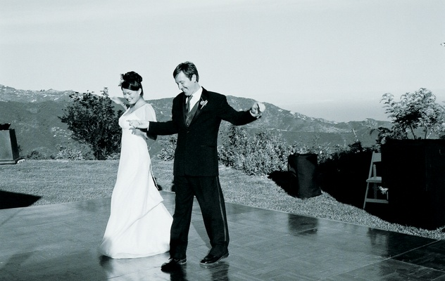 Black and white image of newlywed's first dance