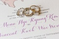 diamond women's band, men's band, and engagement ring on invitation