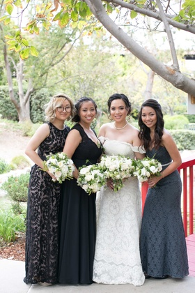 bride bridesmaids black gray dresses different patterns white bouquets outdoor california wedding