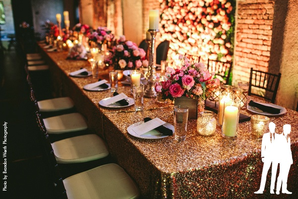 Head table featuring gold sequin linen