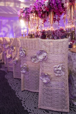 white woven chair covers 3-d flowers bold styled shoot wedding feminine details pink purple