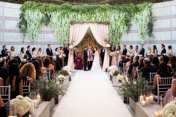 Outdoor wedding ceremony skirball cultural center jewish wedding mixed bridesmaids groomsmen chuppah