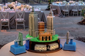 Groom's cake with Chrysler and Empire State buildings