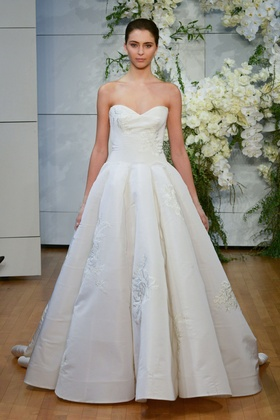 Monique Lhuillier Spring 2018 bridal collection Juliette wedding dress faille sweetheart ball gown