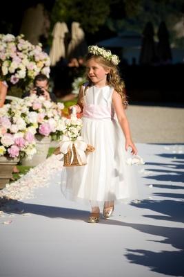 Tea-length dress and basket of flowers