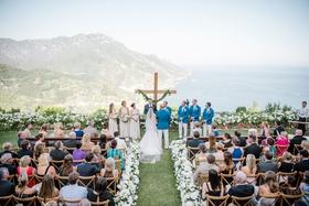 Wedding ceremony in Ravello Italy overlooking Amalfi Coast italian wedding destination simple ceremo