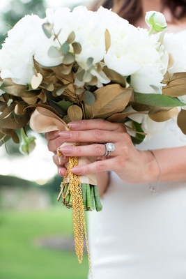 ranunculus, cream peonies, bay leaves, bouquet with gold chain Heidi Mueller wedding