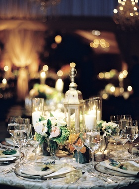 Countryside reception table with small arrangements