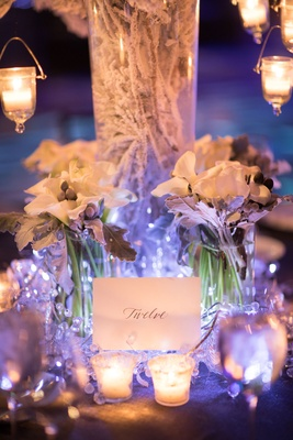 Snowy branches white calla lilies silver brunia balls dusty miller table number crystals candles