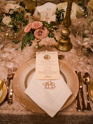 wedding reception place setting nuage designs linen glitter charger monogram napkin rose gold menu