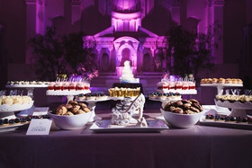 Vibiana wedding reception purple lighting shoe dessert dessert sweets bar candy bar alternative