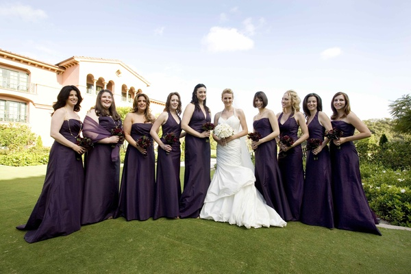 Bride in trumpet gown with girls at Grand Del Mar