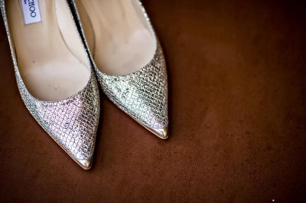 Pointy toe Jimmy Choo wedding heels with metallic fabric