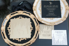 art-deco style invitation suite for 50th wedding anniversary in black, gold, white