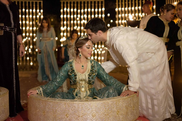 bride groom traditional moroccan wedding garb marrakech family three dresses gowns customs
