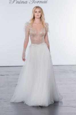 Pnina Tornai for Kleinfeld 2018 wedding dress sheer glitter bodice long sleeves with sheath skirt