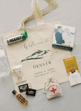 wedding favors destination wedding idea denver hangover kit matches pretzel photo of couple water