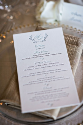 Letterpress wedding menu with seafoam blue courses and monogram with wedding date and details