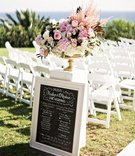 wedding party ceremony sign blackboard outdoor wedding pacific ocean program chalk