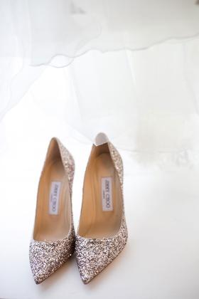 Gold glitter Jimmy Choo wedding shoes pointed toe pumps glittery
