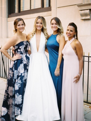 bride in romona keveza a-line gown plunging neckline with friends, no bridesmaids