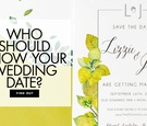 who should know your wedding date? green and chartreuse wedding invitation suite