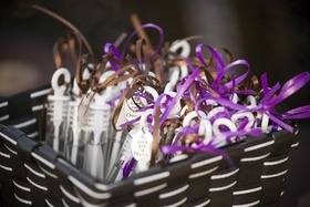 Wedding favor bubble dispenser with ribbon and charm