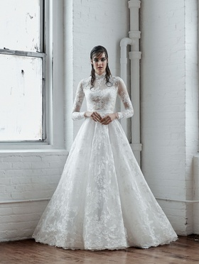 Isabelle Armstrong Fall 2018 bridal collection long sleeve jacquard ball gown with collar