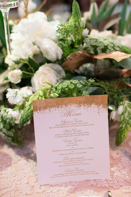 DeMarco Murray and Heidi Mueller wedding menu card gold rustic style