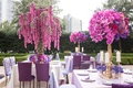 Wedding reception in garden of The Ritz-Carlton, Dallas, with purple linens, centerpieces