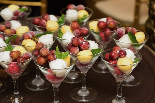 intermezzo between dinner courses wedding reception grapes champagne passion fruit raspberry sorbet