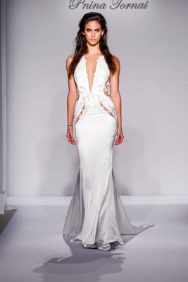 Pnina Tornai for Kleinfeld 2016 cutout wedding dress with plunging neckline