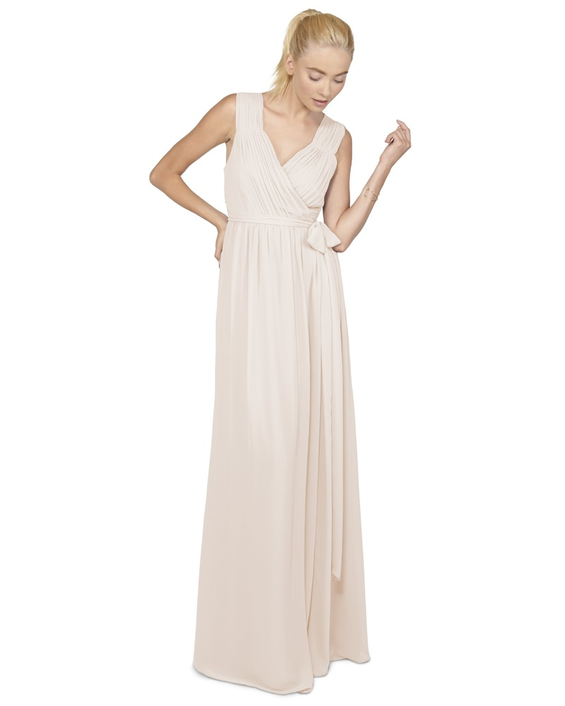 This pleated bodice wrap dress is gorgeous for a black tie affair but is also the perfect choice for