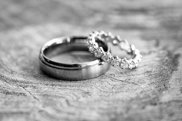 Black and white photo of wedding band and eternity band