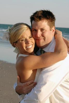 Casual beach wedding couple on beach